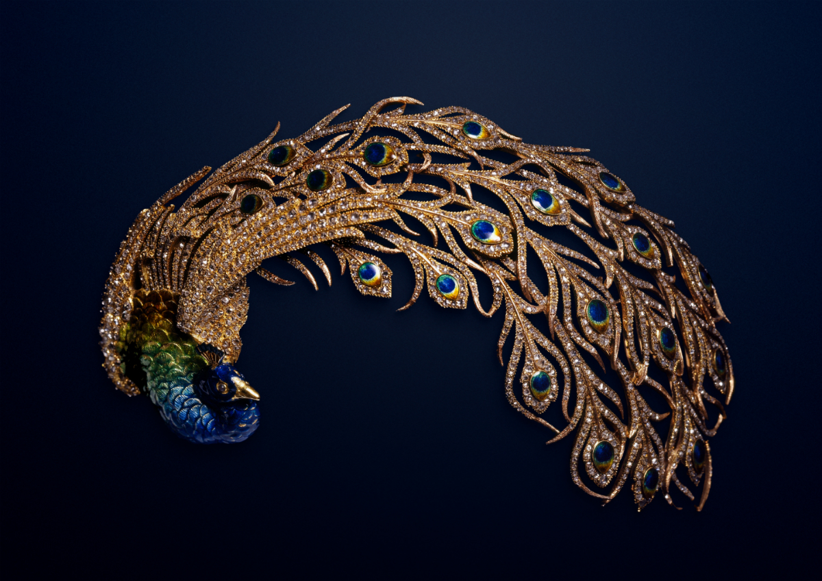 289fe388c Peacock Aigrette: Mellerio created this piece in 1905 for Maharaja Jagatjit  Singh of Kapurthala. It is featured in portraits of the Maharaja's fifth  wife, ...